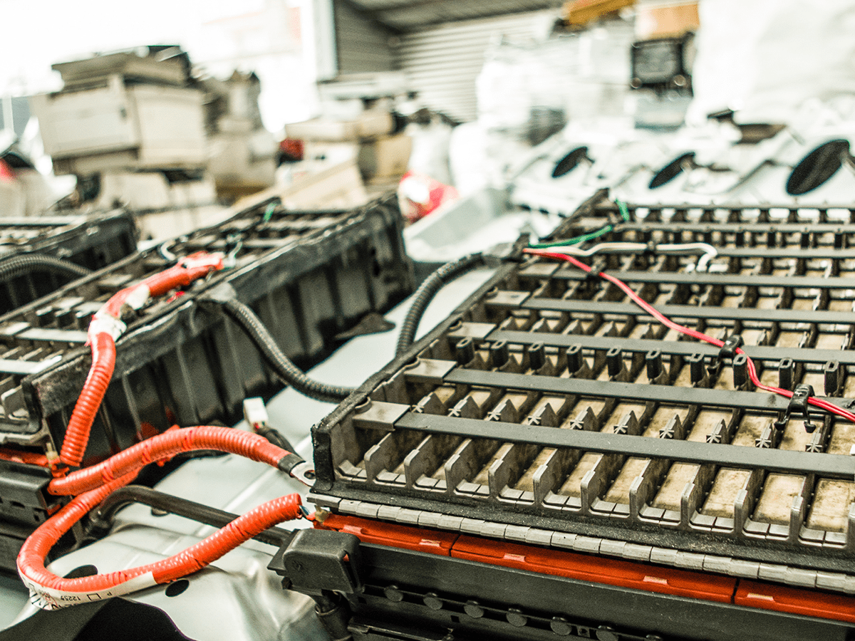 Close up of electronic parts ready for recycling